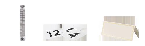 Alquiler : Portanúmeros, portanombre y plato giratorio