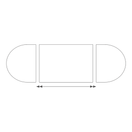 Mesa ovalada de 150 x 300 cm