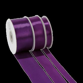 Cinta de satén violeta - ancho 38 mm - Rollo de 25 m