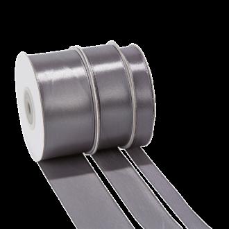 Cinta de satén gris - ancho 25 mm - Rollo de 25 m