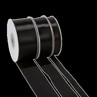 Cinta de satén negro - ancho 12 mm - Rollo de 25 m