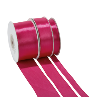 Cinta de satén fucsia - ancho 12 mm - Rollo de 25 m