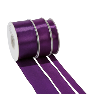 Cinta de satén violeta - ancho 12 mm - Rollo de 25 m