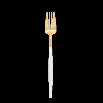 Tenedor de mesa Cutipol blanco y dorado