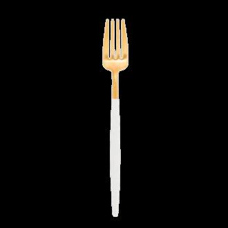 Tenedor de servicio Cutipol blanco y dorado