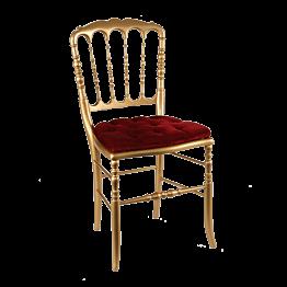 Silla Napoleon lll dorada fija terciopelo rojo
