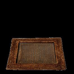 Bandeja cuadrada Luisiana 40 x 40 cm. con placa de cristal