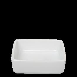 Mini plato cuadrado blanco 6,5 x 6,5 cm. Alt. 2 cm. 4 cl.