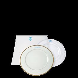 Inscripción sobre plato - azul