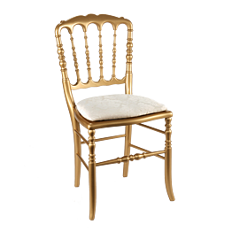 Silla Napoleón III dorada fija Gala blanca