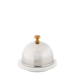 Mantequillera de porcelana con campana inox. Ø 9 cm H 8 cm
