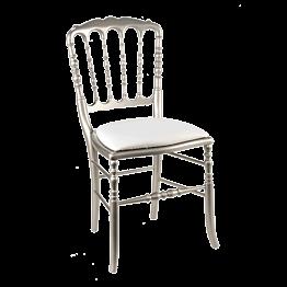 Silla Napoleón III acero fija chintz blanco