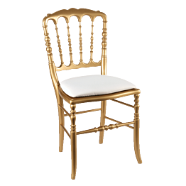 Silla Napoleón III dorada fija chintz blanca