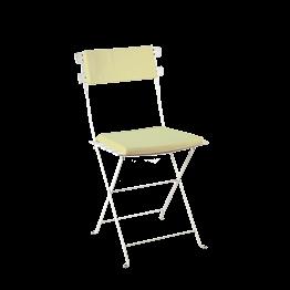 Silla Trocadero blanca con asiento y respaldo verde pistacho