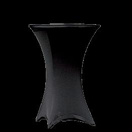 Mesa coctel alta con funda negra Ø 75 Alt. 110 cm. Ignífuga M1
