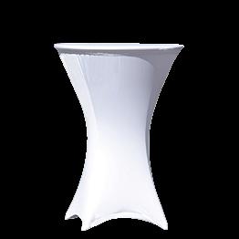 Mesa coctel alta con funda blanca  Ø 75 Alt. 105 cm