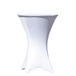Mesa coctel alta con funda blanca  Ø 75 Alt. 110 cm. Ignífuga M1