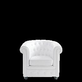Sillón Chesterfield blanco L 82 P 75 H 75 cm