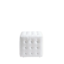 Puff Chesterfield blanco l 44 P 44 H 42 cm