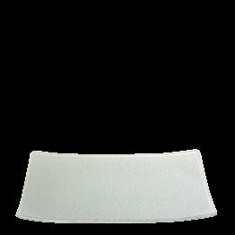 Assiette rectangulaire grise nacrée en verre 24 x 32 cm