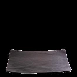 Plato rectangular negro de cristal 24 x 32 cm
