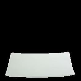 Plato rectangular blanco de cristal 24 x 32 cm