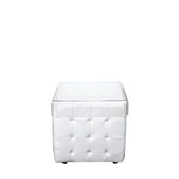 Mesa baja Chesterfield blanca 44 x 44 cm H 42 cm