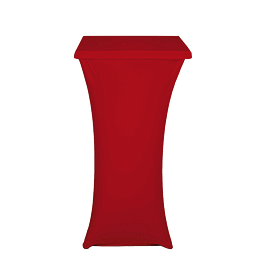 Mesa coctel alta con funda roja Alt 111 60 x 60 cm. ignífuga M1