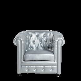 Sillón Chesterfield plata L 82 P 75 H 75 cm
