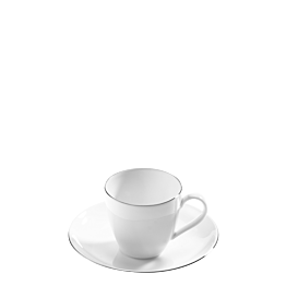 Taza y plato de café Platino 10 cl