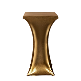Mesa cóctel alta con funda oro 60 x 60 cm Alt. 111 cm