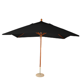 Parasol Luisiana negro 300 x 300 cm + pie de granito Ø 50 cm