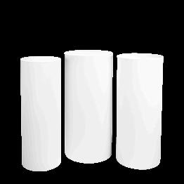 Mesa cóctel alta cilindros blanca Alt 110 - 112 - 114 (3 u.)