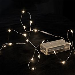 Guirlanda 12 LEDS gotas de agu, luz blanca cálida