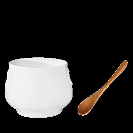 Bote para mostaza blanco Ø 5 cm H 6,5 cm y su cuchara