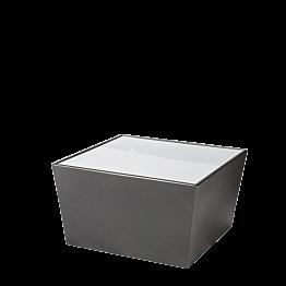 Mesa baja Cono negra con sobre acrílico blanco 70 x 70 x 40 cm