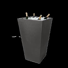 Mesa cóctel alta  pilón encastrado Cono negra 70 x 70 cm H 110 cm