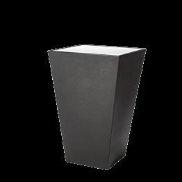 Mesa cóctel alta Cono negra con sobre acrílico blanco