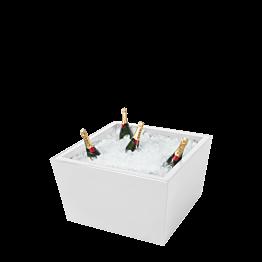 Mesa baja Cono blanca y pilón encastrado blanco para champagne