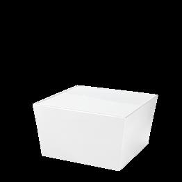 Mesa baja Cono blanca con sobre acrílico blanco