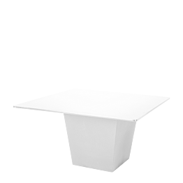 Mesa Alt. 75 cm Cono blanca con sobre blanco 140 x 140 cm