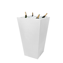 Mesa cóctel alta Cono blanca con pilón encastrado para champagne