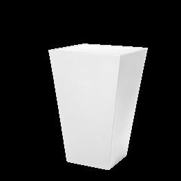 Mesa cóctel alta Cono blanca con sobre acrílico blanco