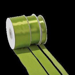 Cinta de satén verde anís - ancho 12 mm - Rollo de 25 m