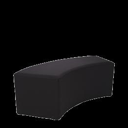 Banqueta redondeada en vinilo negro 50x150 Alt 40 cm