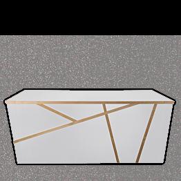 Buffet plegable Sakiro blanco 100 x 225 cm con módulos redondeado