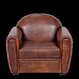 Sillón Club cuero marrón 100 x 83 cm Alt 97 cm
