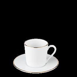 Taza y plato de cafe Plano Ribete Oro 12 cl