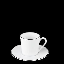 Taza y plato de cafe Plano Ribete Plata 12 cl