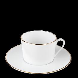 Taza y plato de té Plano Ribete Oro 22 cl
